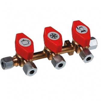 Gaskraanverdeelblok met naar keuze 2 of 3 aansluitingen
