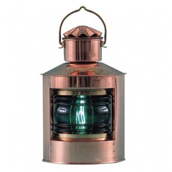 Koperen boordlantaarn verkrijgbaar met groen of rood glas