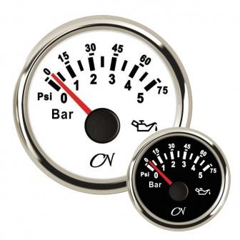 CN oliedrukmeter 0-5 bar met Chromen ring Wit of Zwart