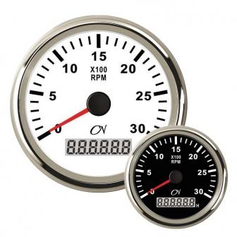 CN toerenteller met bedrijfsurenteller 3000 rpm met Chromen ring Wit of Zwart