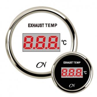 CN uitlaattemperatuur meter digitaal met Chromen ring Wit of Zwart incl. gever