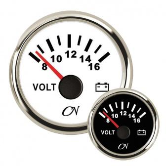 CN voltmeter 12V met Chromen ring Wit of Zwart