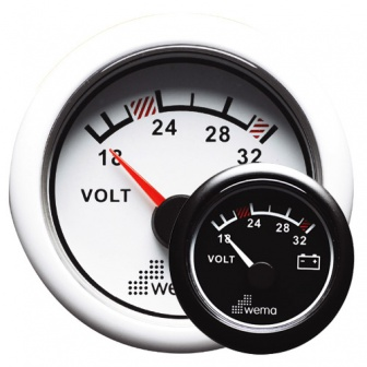 Wema voltmeter 24 volt in wit of zwart