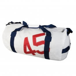Bainbridge Zeildoek tas, wit-blauw in small, medium en large
