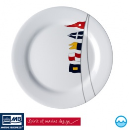 Bootservies Regata. Dinerborden met anti-slipring (dia. 25 cm)