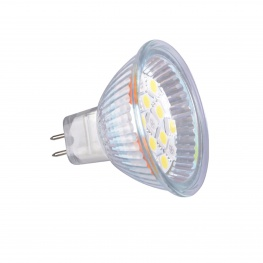 LED 12V MR16 16xSMD ledlamp rood-wit