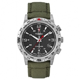 Timex IQ Compas met groen canvas band