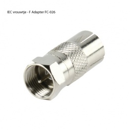 Coax Verloopplug IEC Female - F Connector