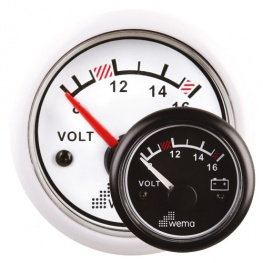 Wema Voltmeter 12 volt in wit of zwart