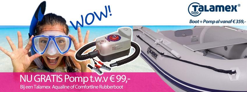 Gratis pomp bij Talamex Aqualine of Comfortline rubberboot